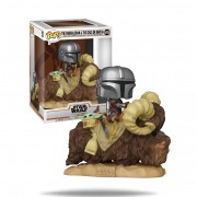 Funko Pop Deluxe Star Wars: The Mandalorian - The Mandalorian on Bantha with Child in bag #416