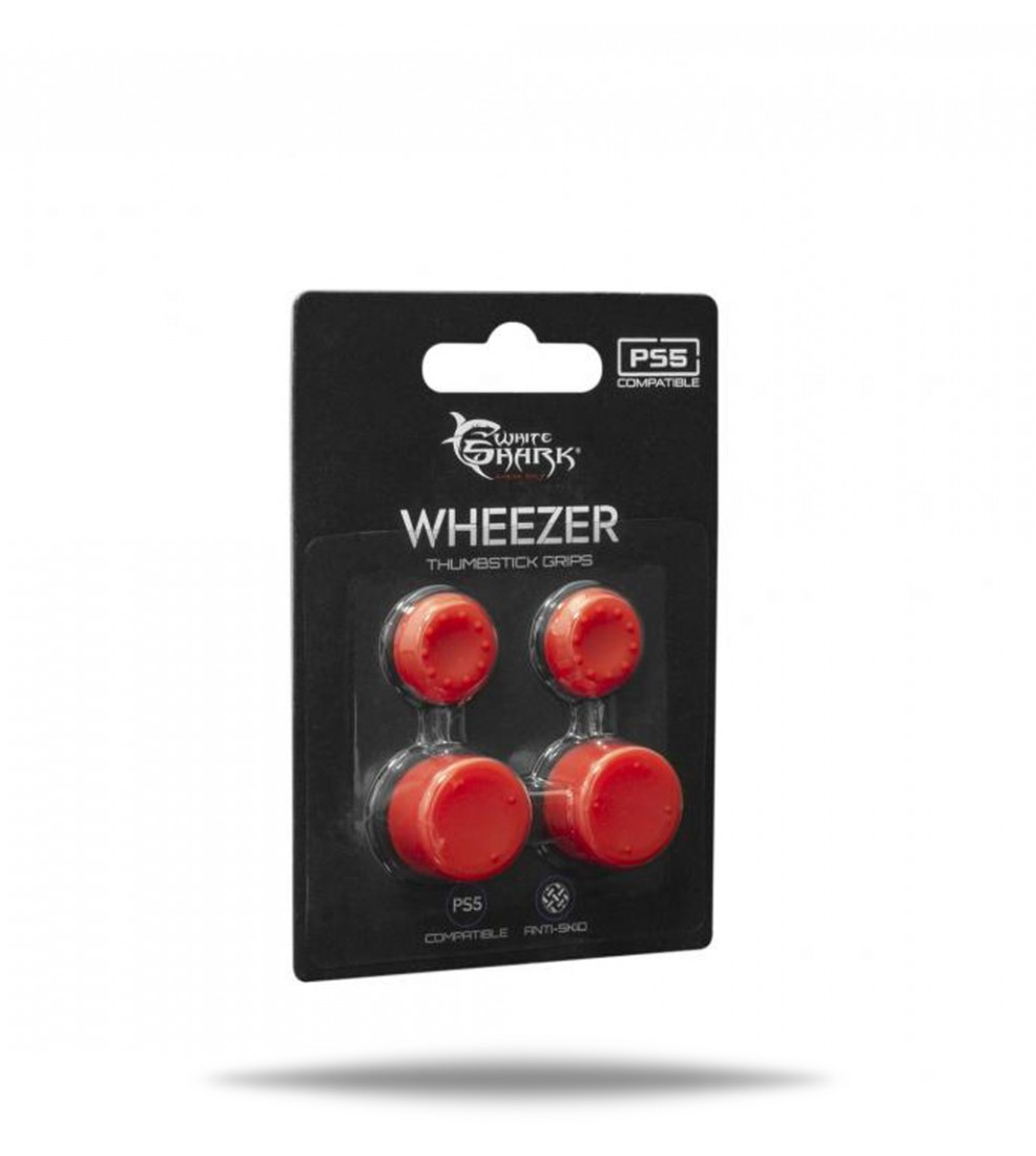 White Shark PS5/PS4 Wheezer Thumb Grips - Red